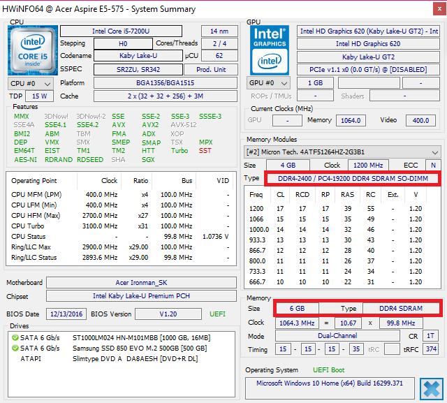 HWinfo Computer RAM