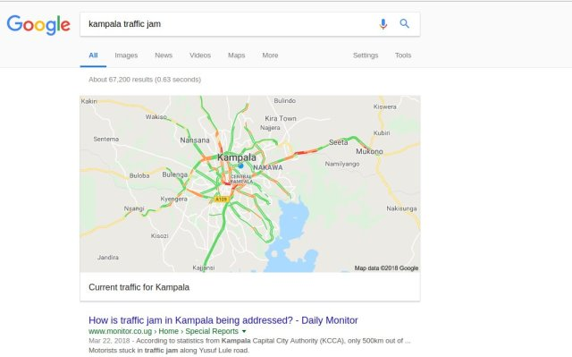 Kampala traffic updates Google search