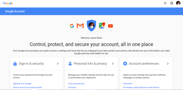 how to change google account settings
