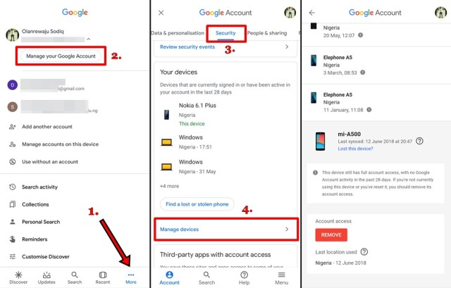 Google account connected devices