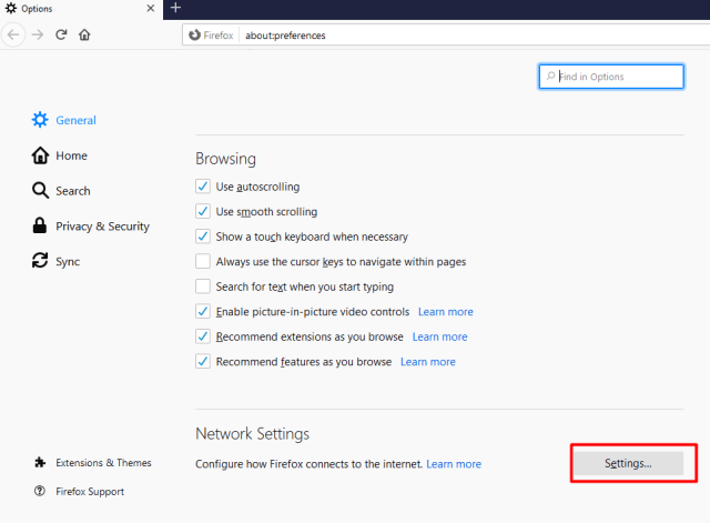 enable DNS-Over-HTTPS Firefox