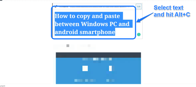 copy and paste between Windows and Android