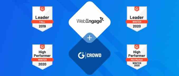 WebEngage recognized as one of India's top 25 software companies in G2's Winter 2020 report