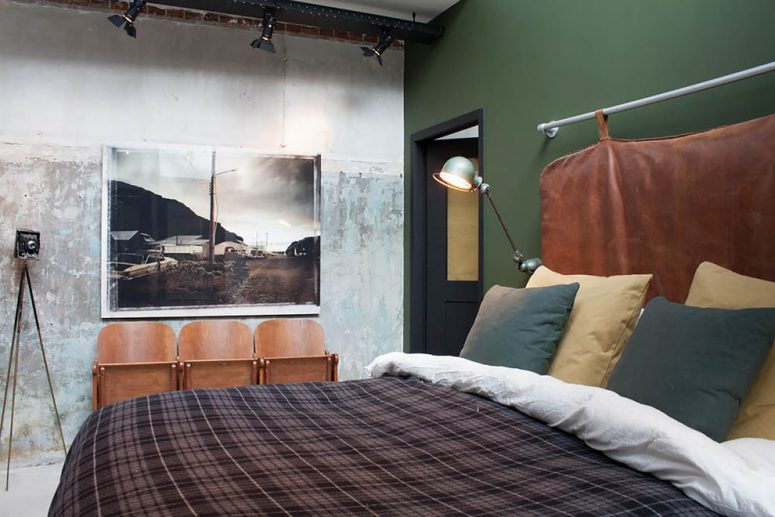 70 Stylish and Sexy Masculine Bedroom Design Ideas   DigsDigs industrial bedroom with a cool headboard and a green wall