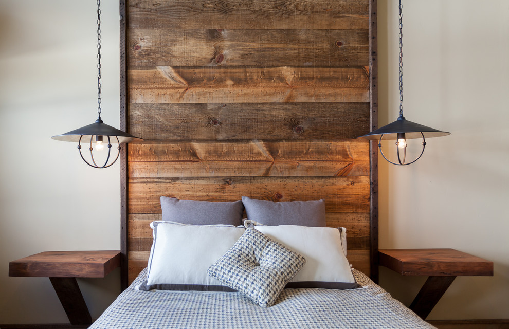 Wooden Interior Designs Wood Headboard with Side Tables Industrial Country Rustic