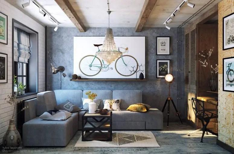 Cozy Industrial Living Room Design In Grey Tones Digsdigs