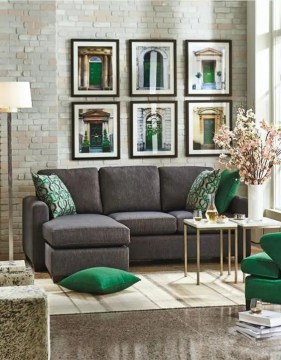 30 Green And Grey Living Room D    cor Ideas   DigsDigs charcoal grey sofa  grey stone floors and emerald and gold details for a  chic and