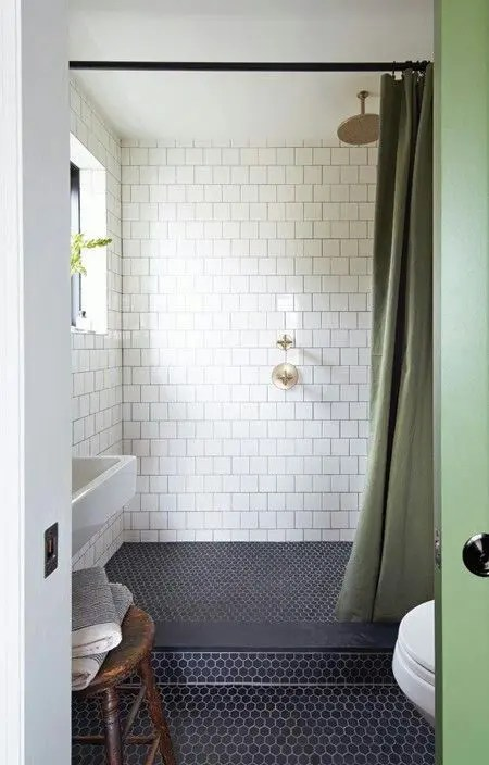 Yellow And Navy Shower Curtain