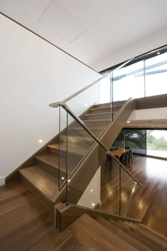 30 Stylish Staircase Handrail Ideas To Get Inspired Digsdigs   Staircase Handrails With Wood And Glass   Tempered Glass   Glass Panel   Wooden   Glass Printing   Solid Wood