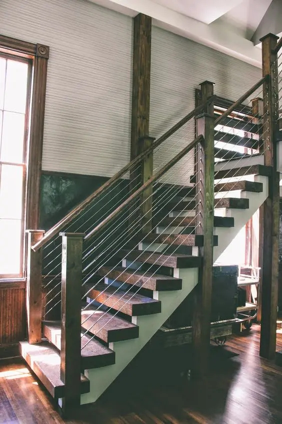 38 Edgy Cable Railing Ideas For Indoors And Outdoors Digsdigs   Black Wood Stair Railing   Hardwood   Curved Wood   Ash Gray   Oak   Cantilever Stair