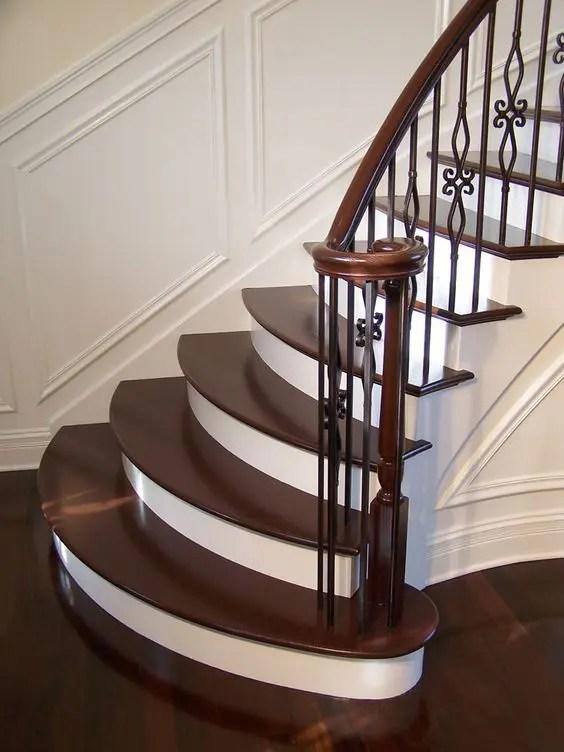 33 Wrought Iron Railing Ideas For Indoors And Outdoors | Wrought Iron And Wood Stair Railing | C Shaped | Banister | Elegant | Geometric | Design Iron