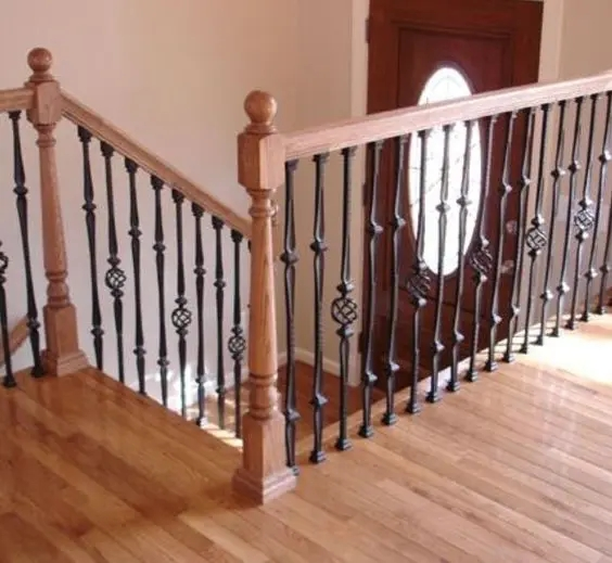 33 Wrought Iron Railing Ideas For Indoors And Outdoors   Metal Railing With Wood Handrail   Cable Railing   Wrought Iron Balusters   Stainless Steel Railing   Deck Railing   Carpeted Stairs