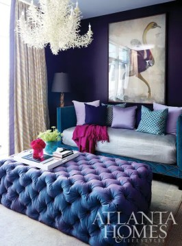 34 Analogous Color Scheme D    cor Ideas To Get Inspired   DigsDigs violet and teal glam living room with a unique chandelier and a crazy  artwork
