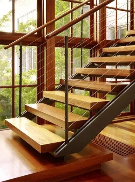 38 Edgy Cable Railing Ideas For Indoors And Outdoors   Open Tread Staircase Designs
