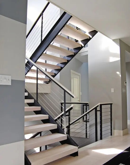 38 Edgy Cable Railing Ideas For Indoors And Outdoors Digsdigs   Black Modern Stair Railing   Raised Ranch   Outdoor   Stainless Steel   Colour Combination   Creative Diy