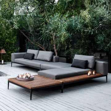 31 Stylish Modern Outdoor Furniture Ideas   DigsDigs modular chaise lounge sofa on blackened metal frames and soft grey cushions