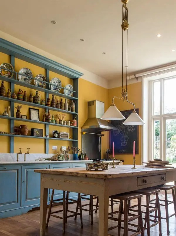 Vintage English Country Kitchen In Bold Colors DigsDigs