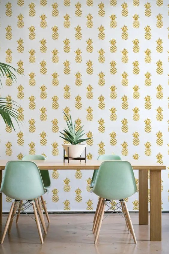 35 Pineapple Home D    cor Ideas To Add A Tropical Cheer   DigsDigs pineapple print wallpaper for a modern and chic dining space