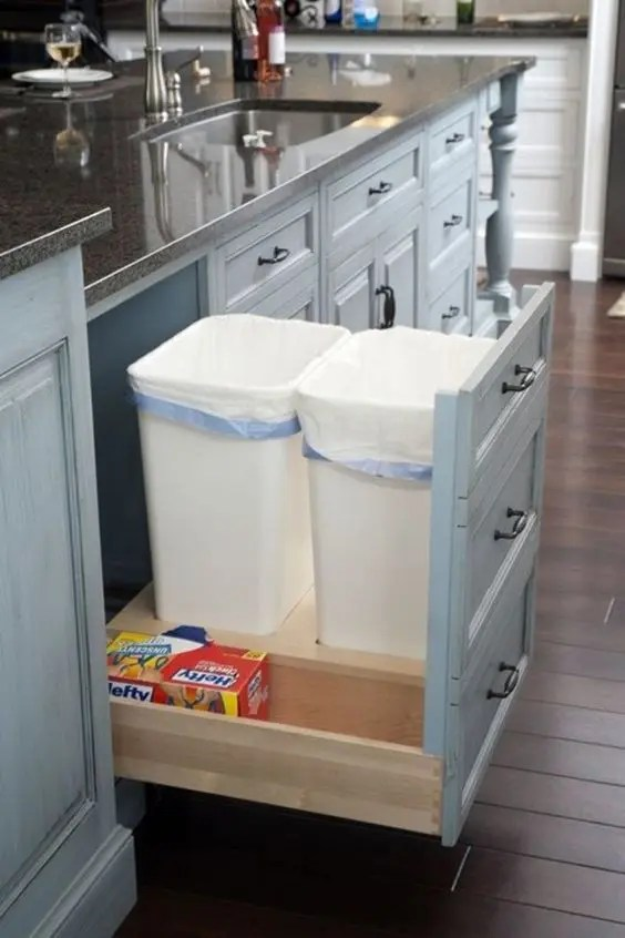 to hide a trash can in your kitchen
