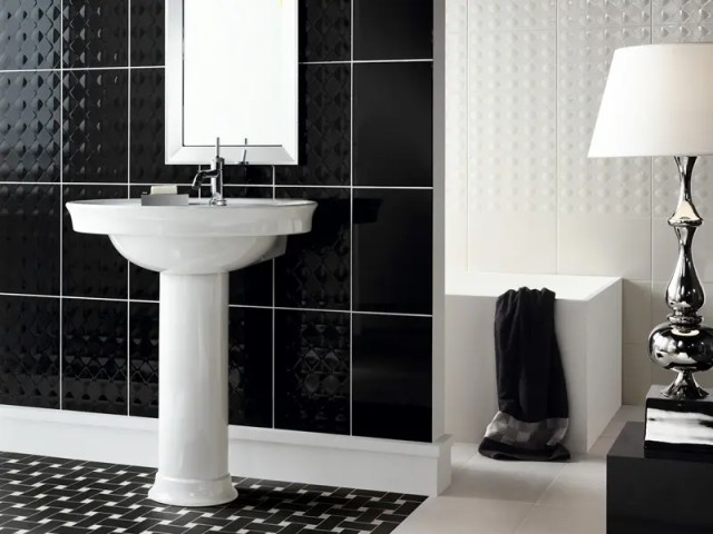Beautiful Wall Tiles For Black And White Bathroom – York by NovaBell