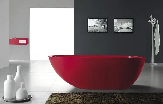 Gorgeous Red Freestanding Bath Tub From Bella Stone