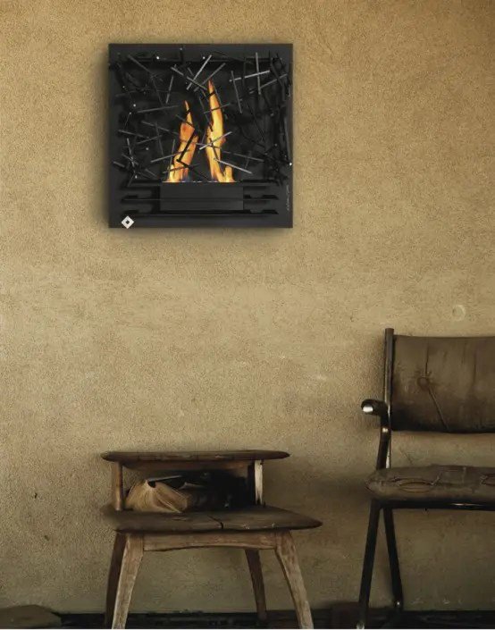 Unique Wall Mounted Fireplace By Aktys