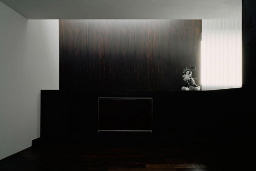 dark livingroom japanese house design