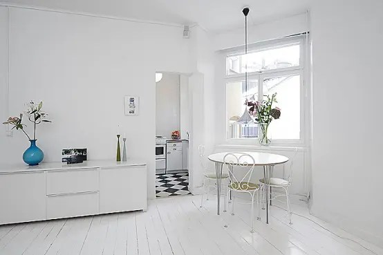 Clean White Small Apartment Interior Design With