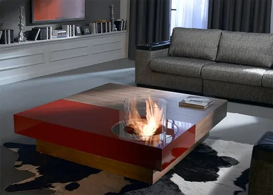 coffee tables with built in fireplace