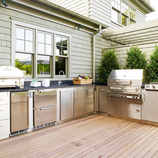 A lot of manufacturers sell nice but pricey contemporary outdoor kitchen sets that could could solve all your cooking needs.