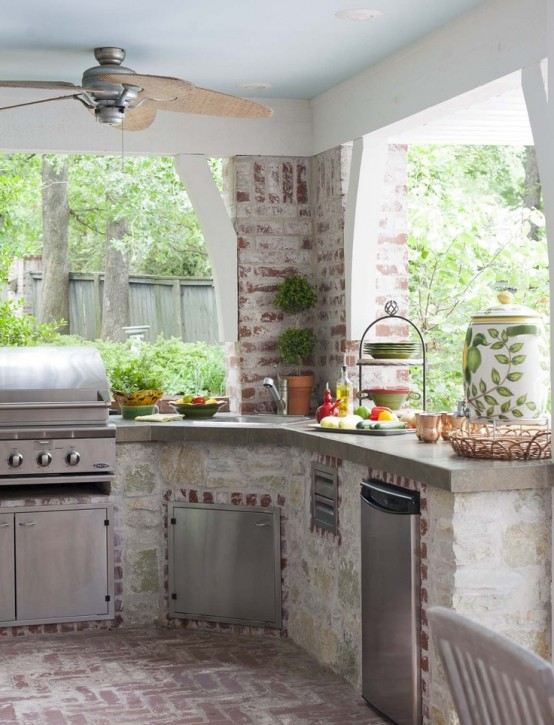 Whitewashed brick could make your kitchen look more vintage and stylish.