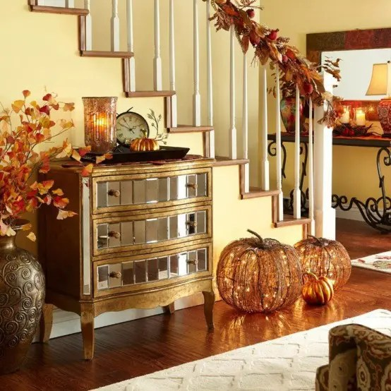 Celebrate Using Brilliant Fall Decorating Ideas With Orange Pumpkins And Black Treen Door Mural
