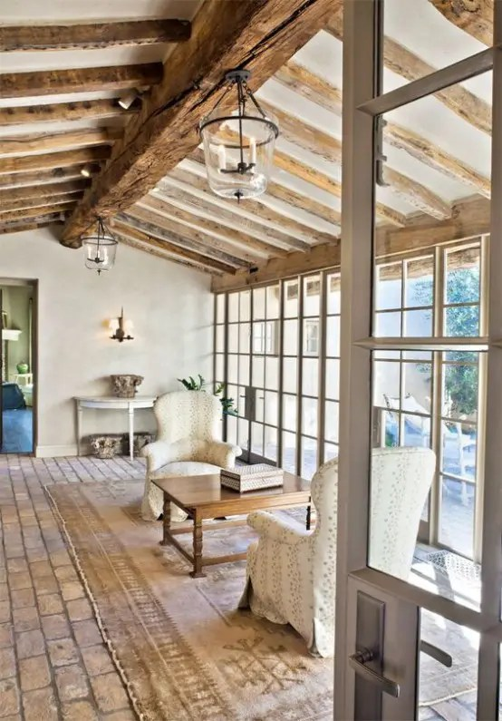 36 Cozy Living Room Designs With Exposed Wooden Beams DigsDigs
