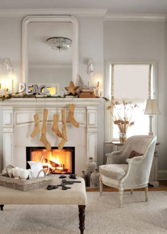 Decorations Christmas Decorating Ideas For Mantels With Green Garland Also Fairy Lights Decor Plus Iron