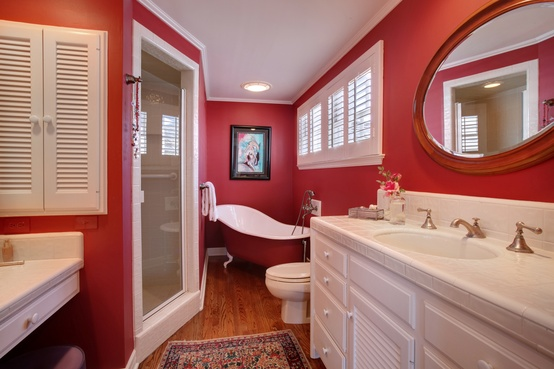 Decorating with Red Bathroom Freestanding Tub Vanity Wall Mirror
