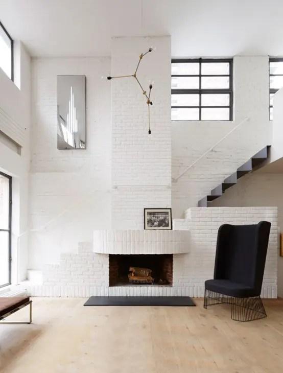 Serene Scandinavian Loft With White Brick Walls And Huge