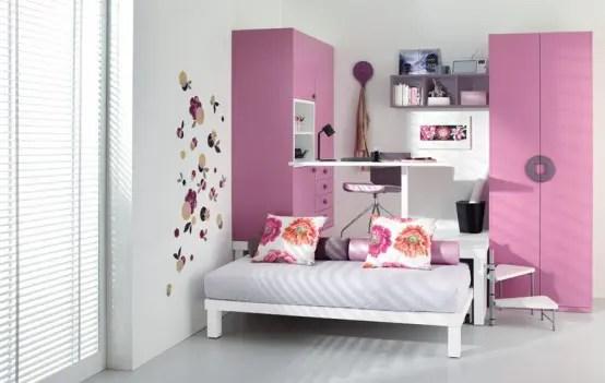 small pink teenage loft bedroom