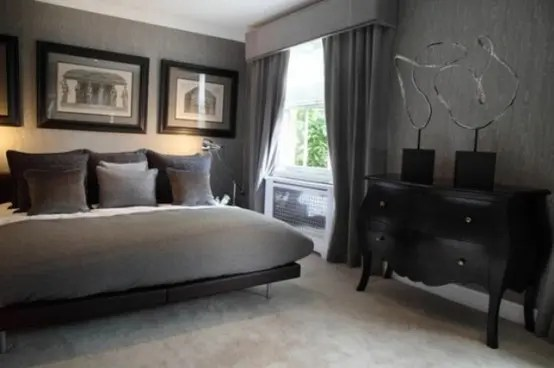 70 Stylish and Sexy Masculine Bedroom Design Ideas   DigsDigs Gray is almost as good color choice idea as black one for a male bedroom