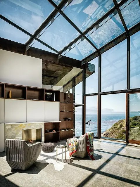 Vacation House With Glass Walls And Ceilings On The Coast