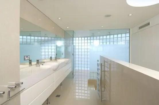 white bathroom seafront house