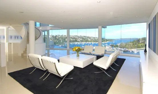 white interior seafront house