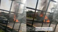 Pagi Ini, Sebuah Mobil Terbakar di Dekat Gerbang Tol H Anif