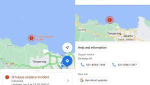 Titik Lokasi Jatuhnya Pesawat Sriwijaya Air SJ182 Muncul di APlikasi Google Maps
