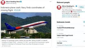 Tragedi Sriwijaya Air SJ182 Jadi Perhatian Media Luar Negeri
