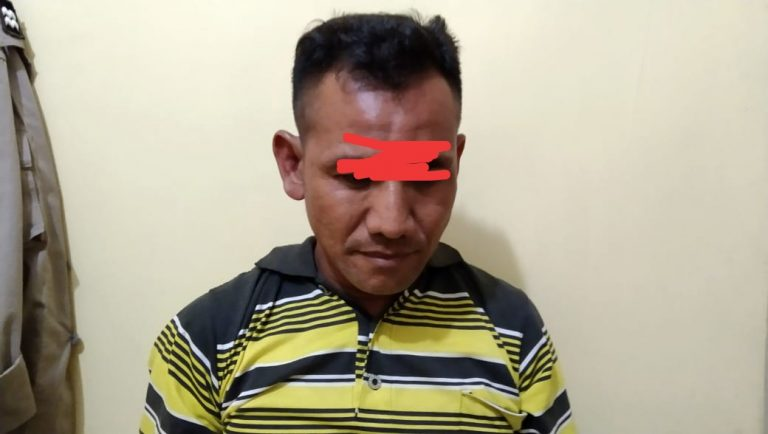 Sunardi, warga Paluh Sibaji, Pantai Labu, yang tega mencabuli anak tirinya.