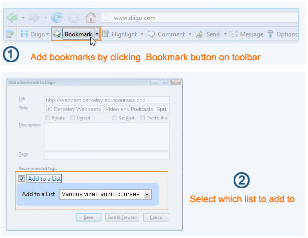 How to add bookmarks to your list
