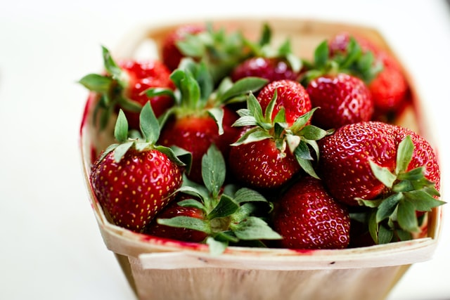 fresh red strawberries  in a box