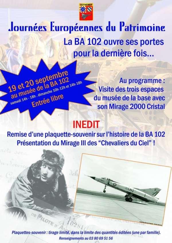 Base 102 Dijon - Affiche Journées du Patrimoine 2015 (19 et 20.09.2015)