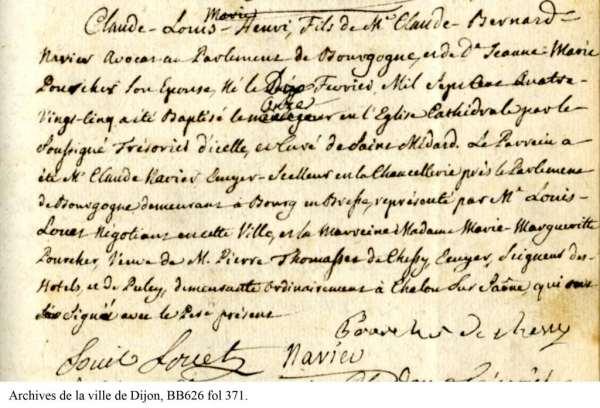 Acte de naissance d'Henri Navier 10 fevrier 1785 BB626 fol 371 copie