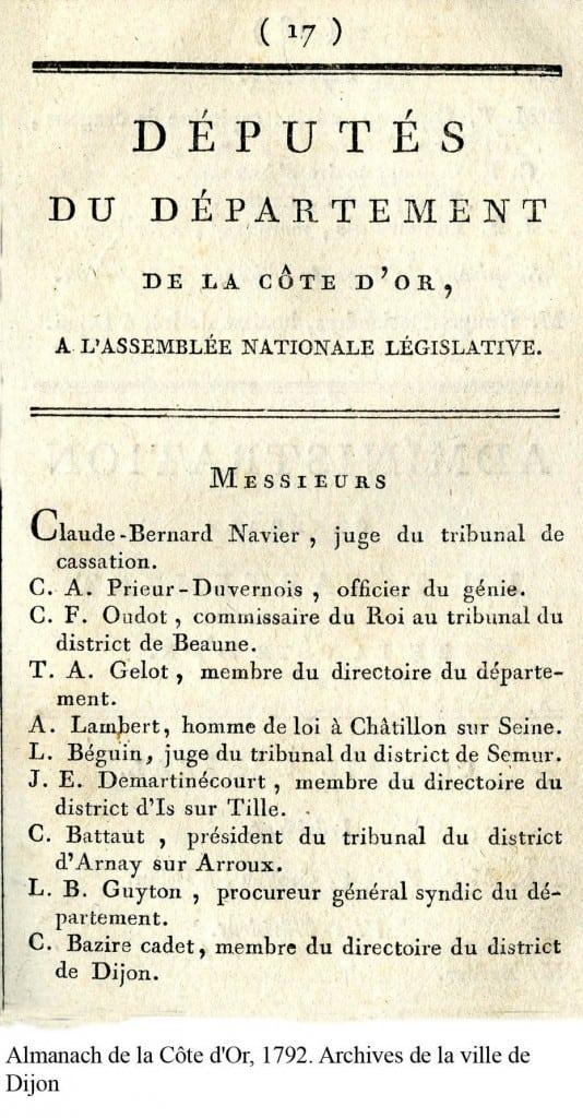 Almanach de la Côte dOr 1792